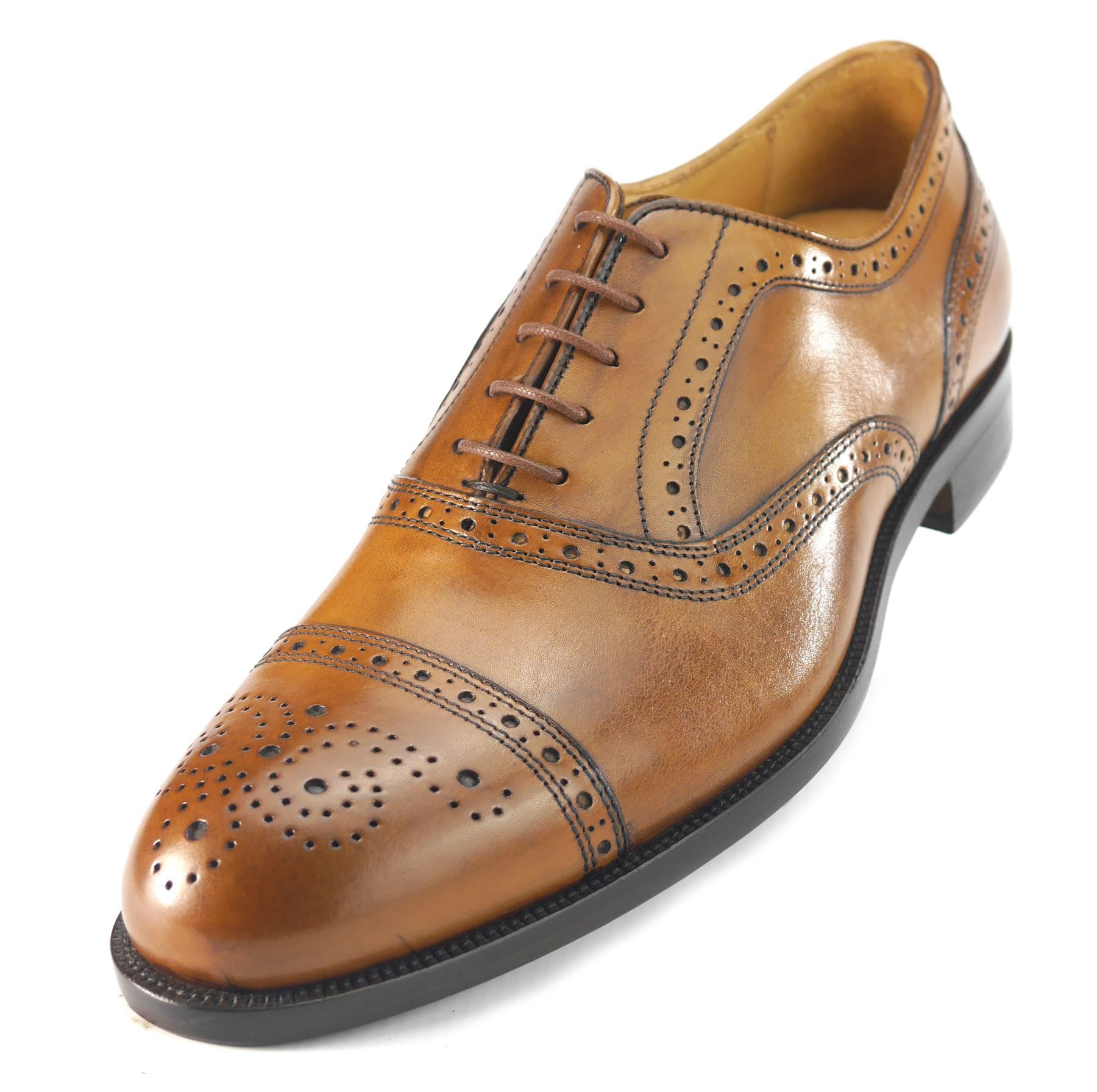 c8bda58c3c5 Mercanti Fiorentini Mens Lace Up All Leather Brogue Oxford Tan or Black  Shoes